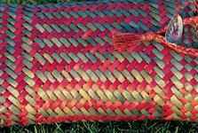 Traditional Maori kite (bag) woven from harakeke (flax) - Photography by Fay Looney